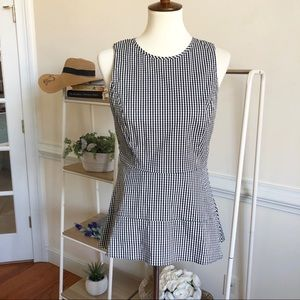 White House black market gingham Peplum blouse